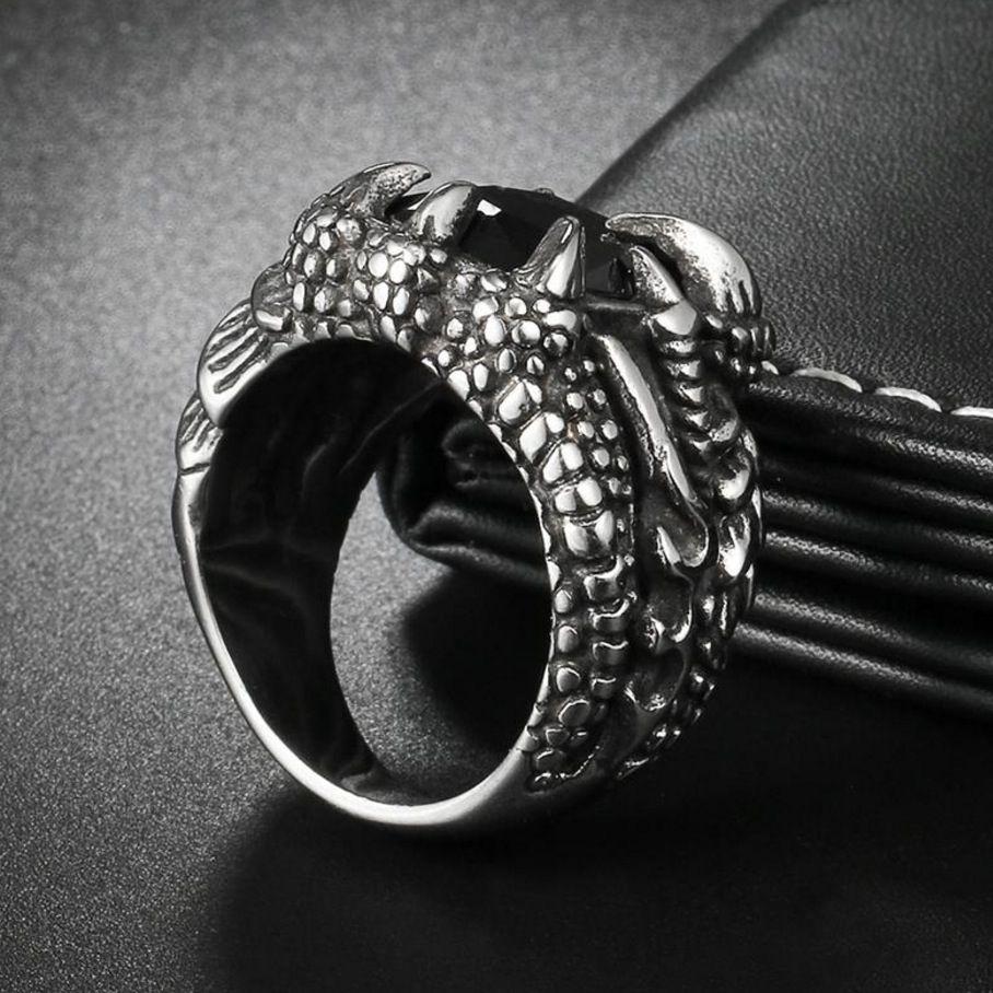 Anel Masculino Garras De Dragão Aço 316l Pedra Cristal Prata