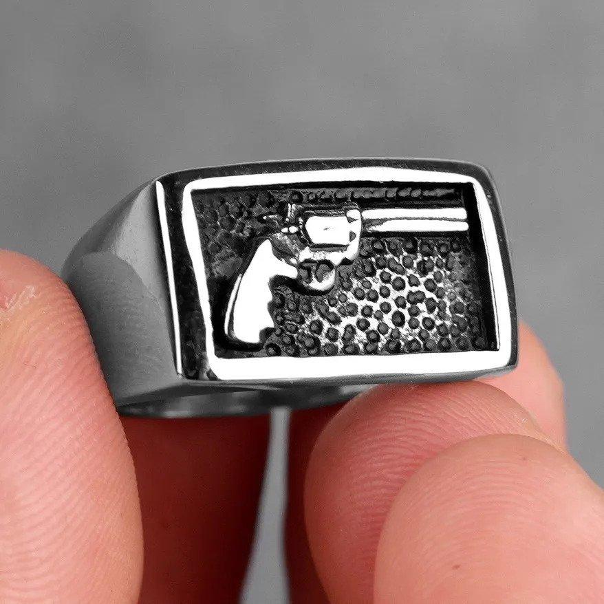 Anel Masculino Militar Pistola Revolver Arma Rock Aço 316l
