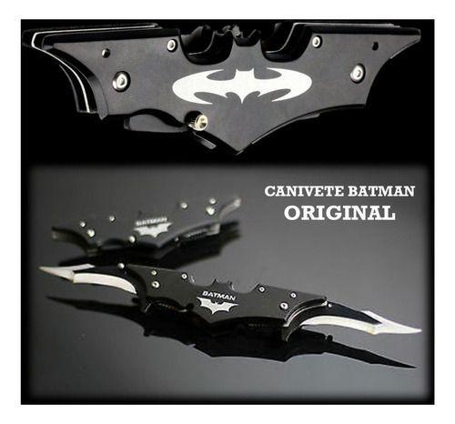 Canivete Batman Automático Retrátil 2 Laminas Grande Preto