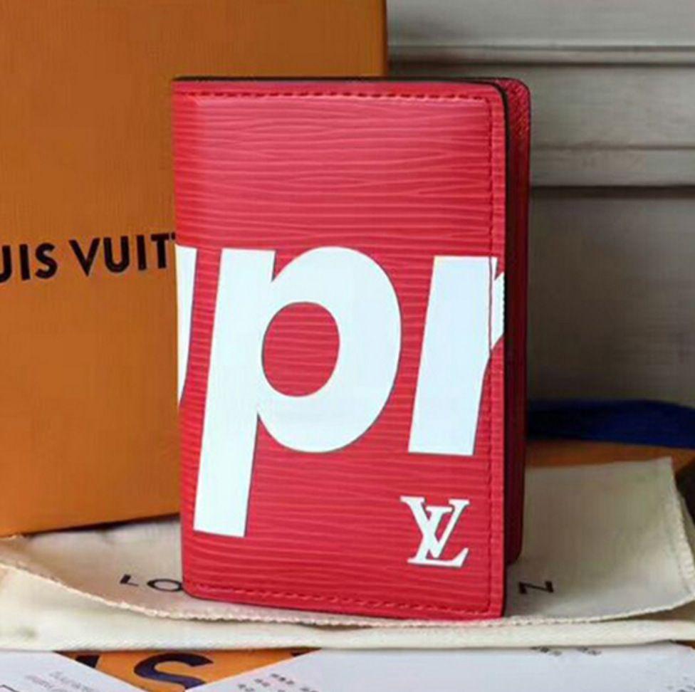 Carteira Louis Vuitton Pocket Organizer Red Supreme Vermelha