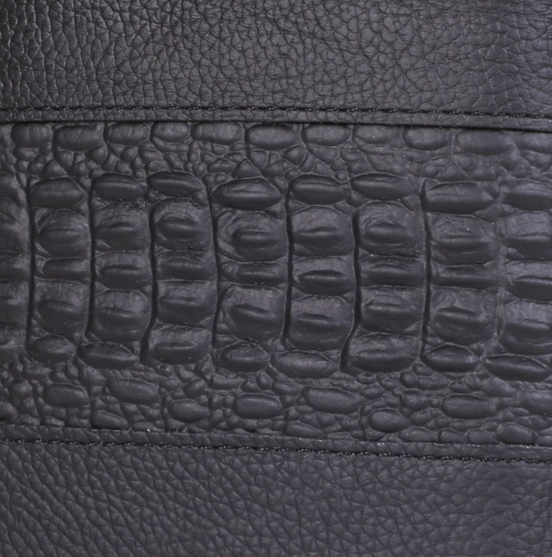 Carteira Masculina Slim horizontal Couro Crocodilo Preta