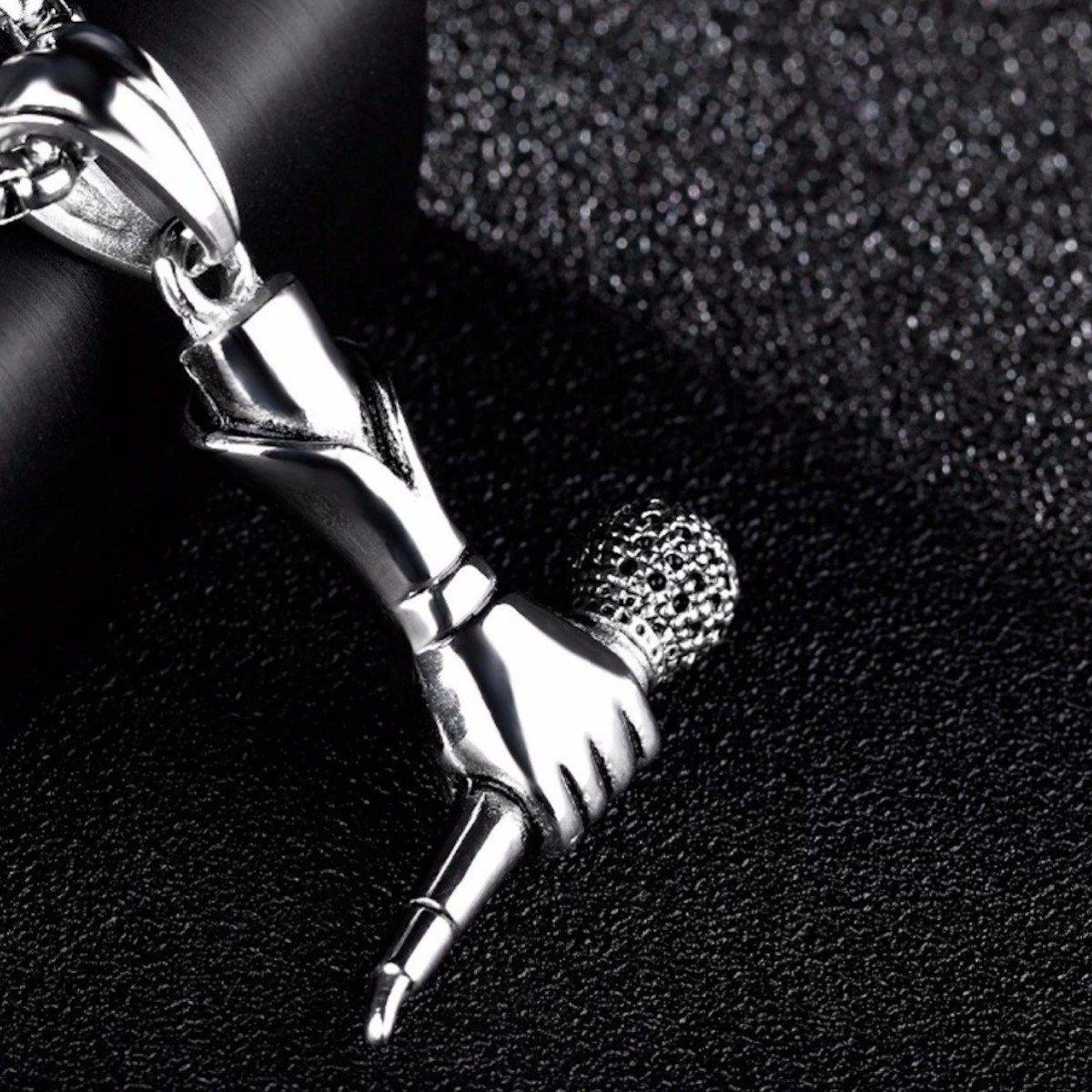 Colar Artísta Musical Pingente Microfone Em Aço Inoxidável