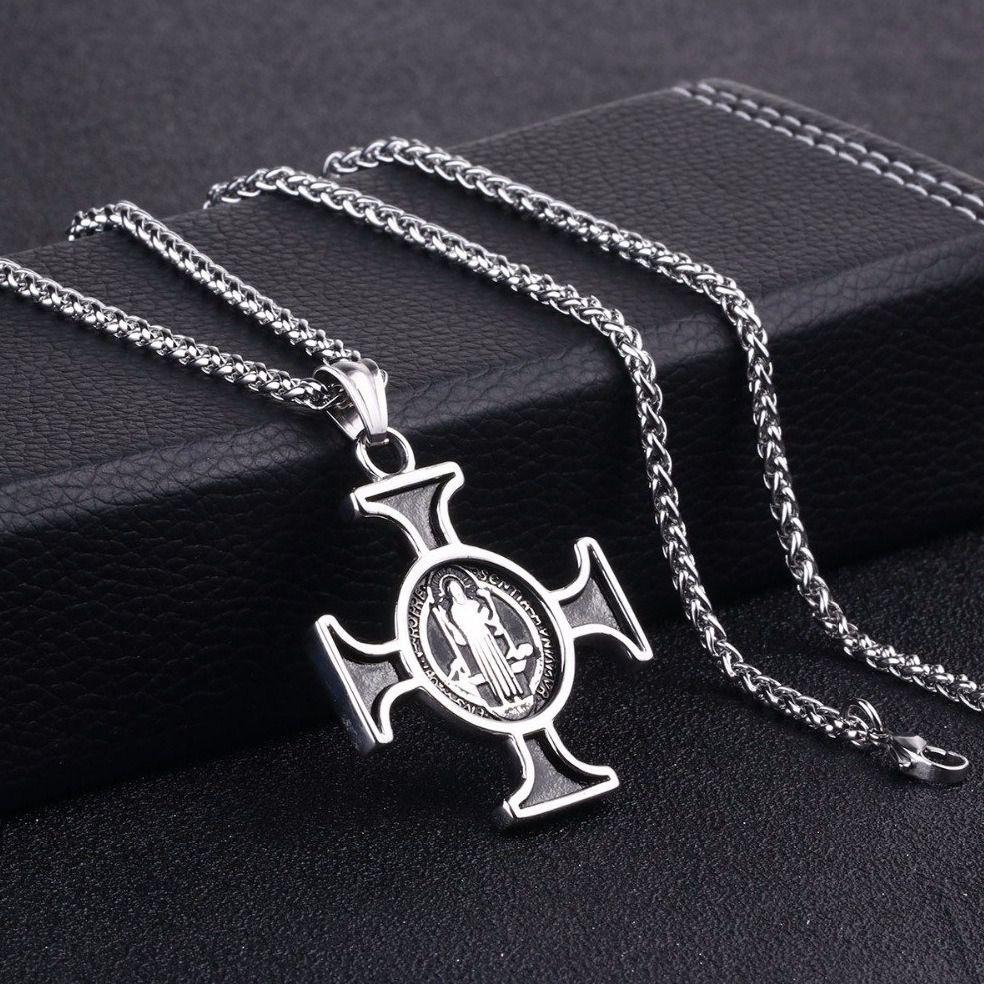 Colar Católico Corrente De São Bento Cruz Sagrada Aço 316l