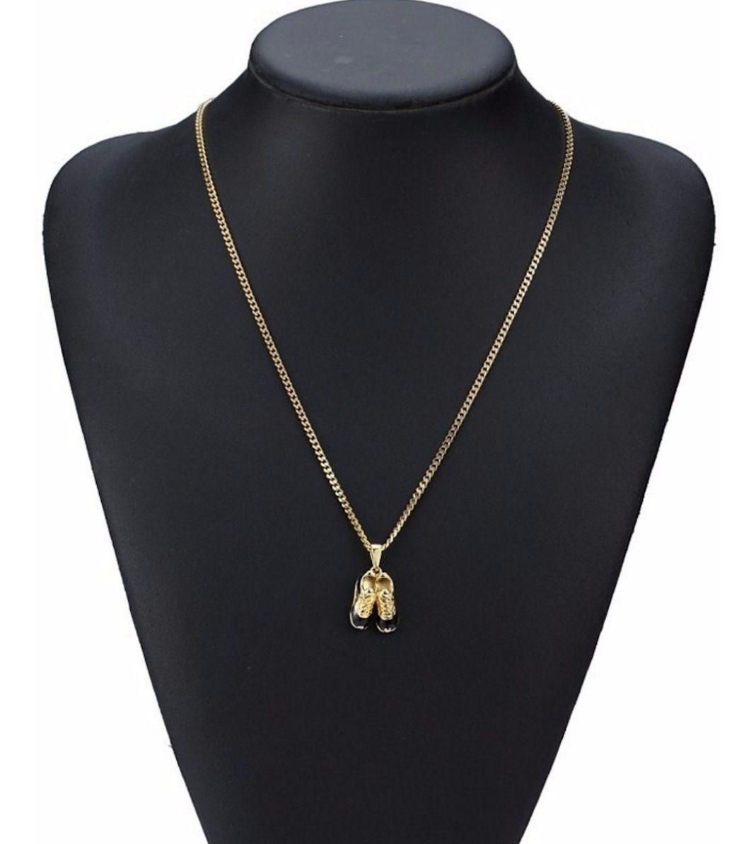 Colar Chuteiras De Ouro Dourado Luxo Folheado 18 C/ Garantia