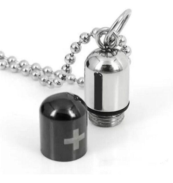 Colar Cordão Comprimido Capsula Porta Remédio Recipiente Aço