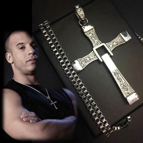 Colar Corrente Aço Crucifixo Toretto Velozes + Pulseira Cruz