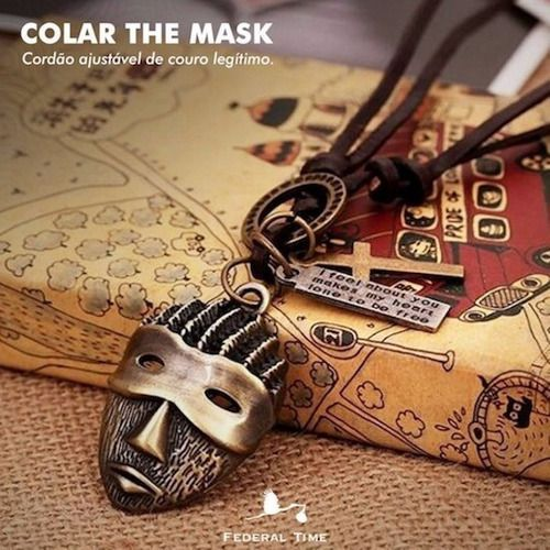 Colar Masculino Ajustável De Couro Vintage Máscara Retrô