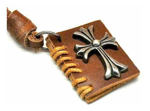 Colar Masculino Bíblia Couro Ajustável Cordão Moda Católico