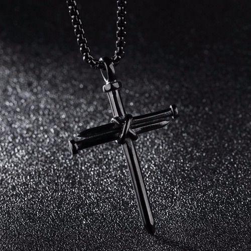 Colar Masculino Cruz De Prego Corrente Aço 316l Crucifixo