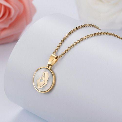 Colar Virgem Maria Folheado Ouro 18k E Pérola