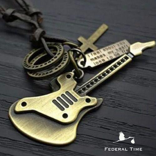 Cordão Guitarra Colar Masculino Couro Ajustável Musical Moda