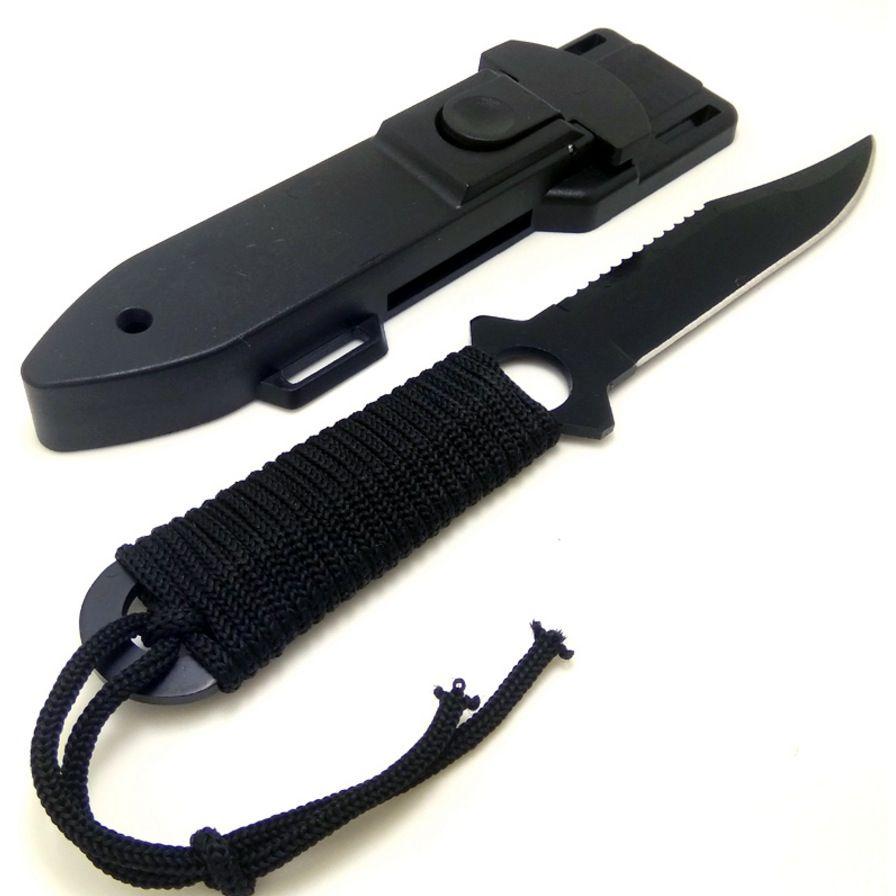 Faca Rambo Multifunções Tática Caça Pesca Lâmina Fixa Preta