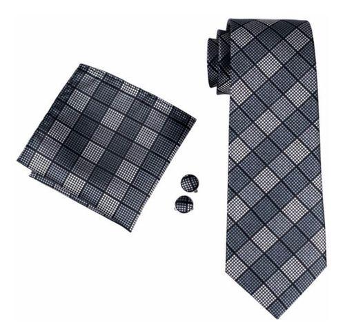 Gravata Masculina Seda Italiana Cinza Xadrez + Lenço + Bots