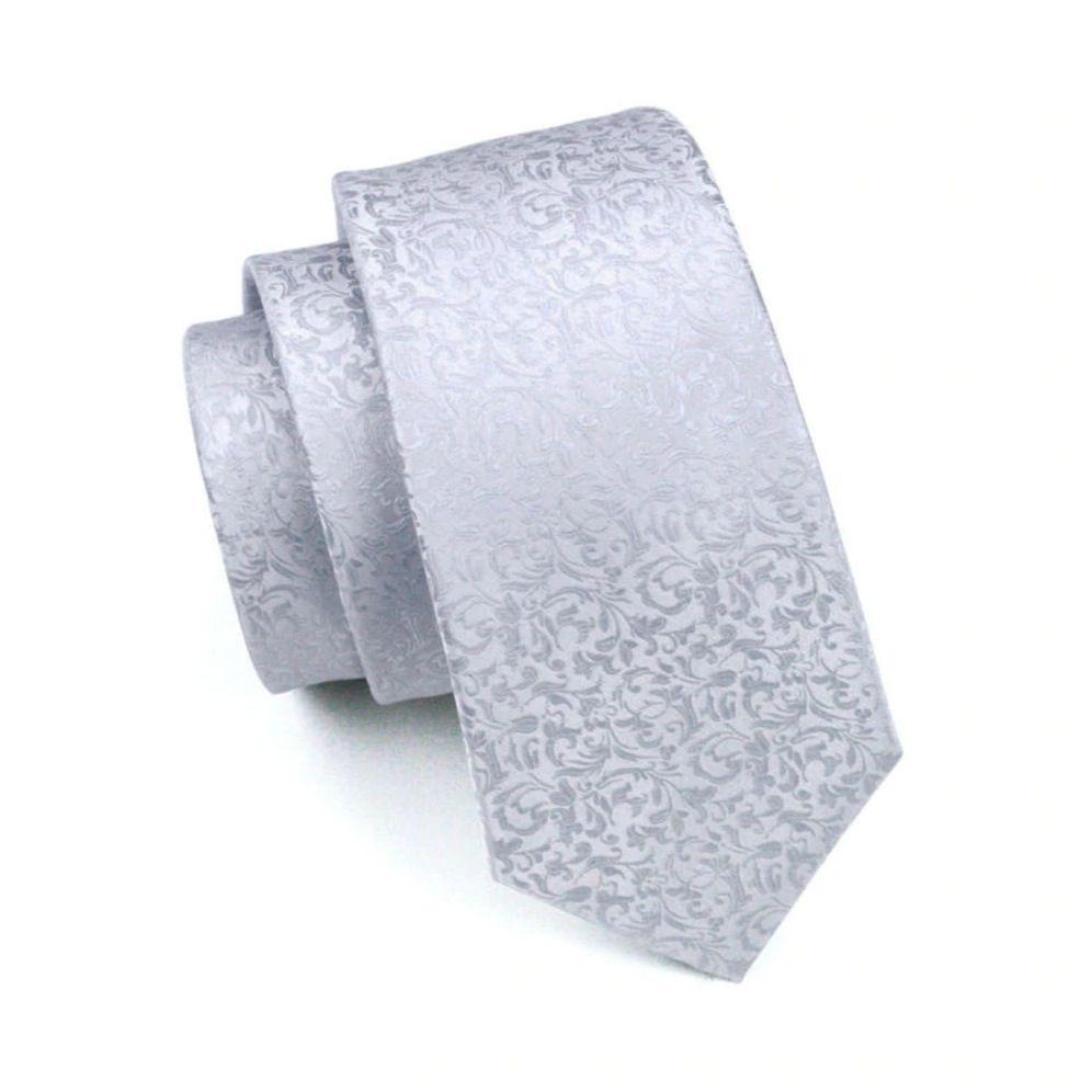 Gravata Seda Italiana Branco Pérola Noivo Luxo +lenço +bots