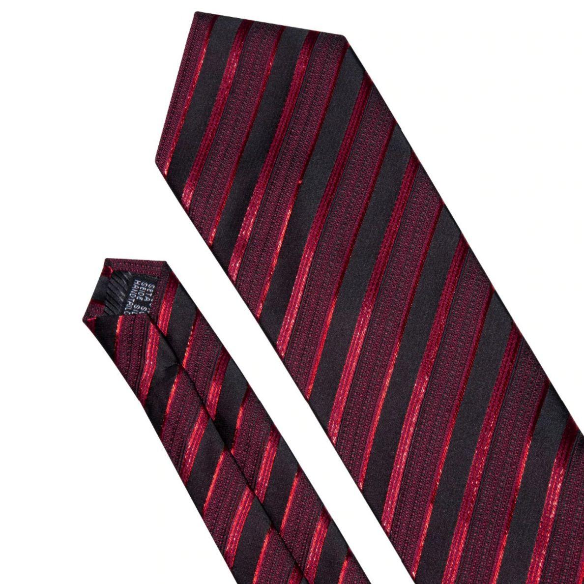 Gravata Seda Listrada Preta Vermelha Vinho Luxo +lenço +bots