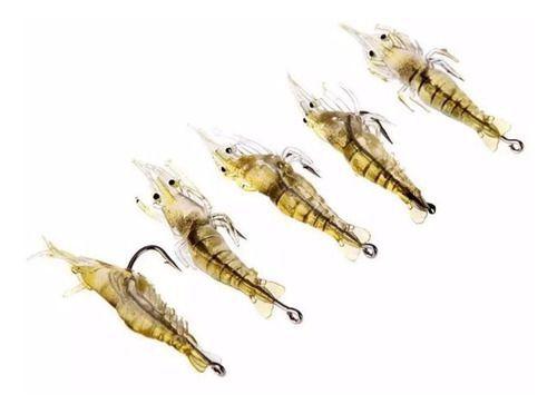 Kit 20 Camarão Artificial Aromatizado Isca Fatal Pesca Pacu