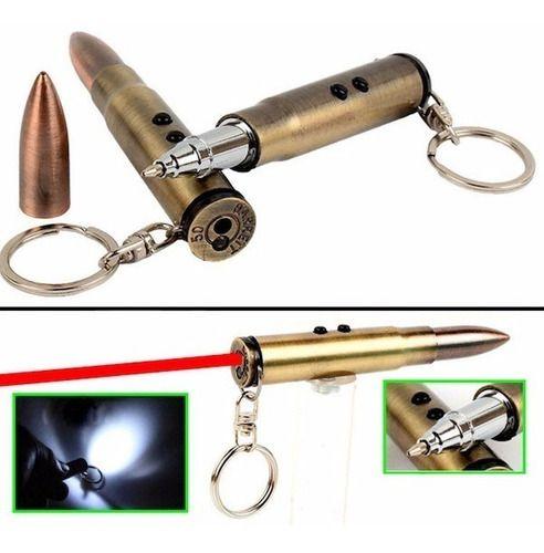 Kit 6 Chaveiro Bala Fuzil Led Laser / Caneta / Lanterna 4x1
