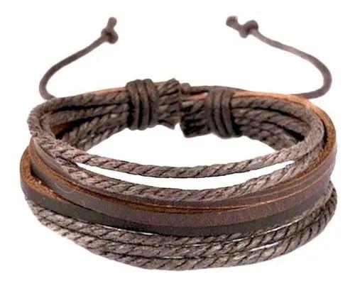Kit Com 2 Pulseiras Tribal Couro Original Extrema Qualidade