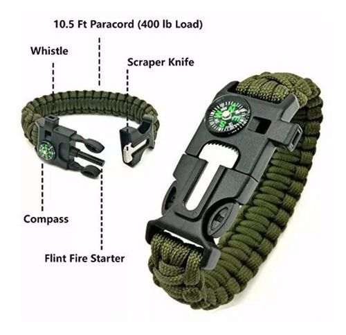Kit Militar Paracord Original + Canivete Batman Preto 19cm