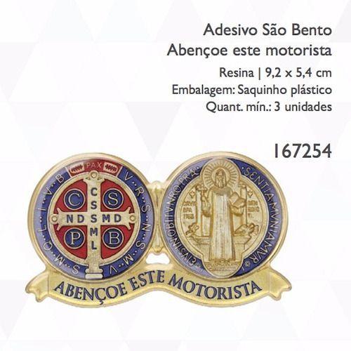Kit Pulseira De Couro Oração De São Bento + Adesivo Resinado