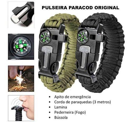 Kit Pulseira Paracord Camuflada Original + Dog Tag Exercito