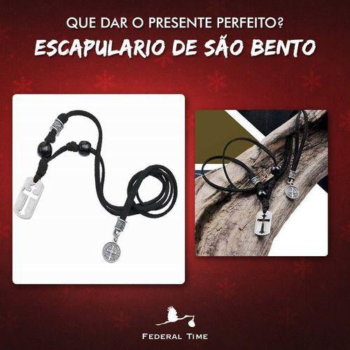 Kit São Bento Pulseira Madeira + Adesivo 3d + Escapulário