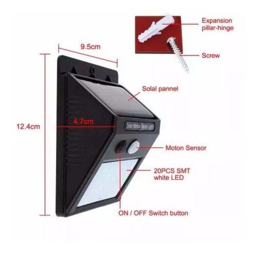 Luminária Solar Parede Refletor 20 Leds 4w Sensor Movimento