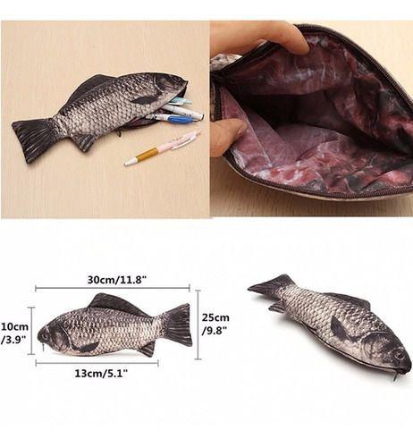 Necessaire Realista Peixe 3d Pesca Estojo Bolsa Com Ziper