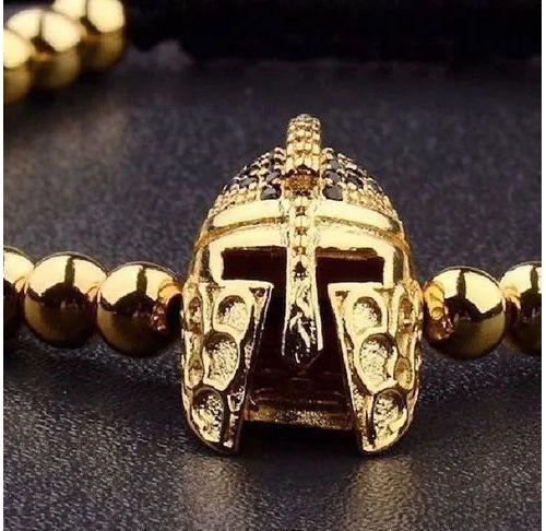 Pulseira Arjandas Guerreiro Spartano Dubai Folheada Ouro 18