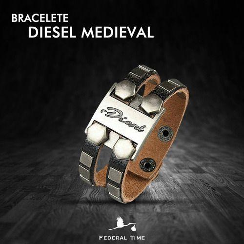 Pulseira Bracelete Couro Masculino Medieval Elmo Diesel