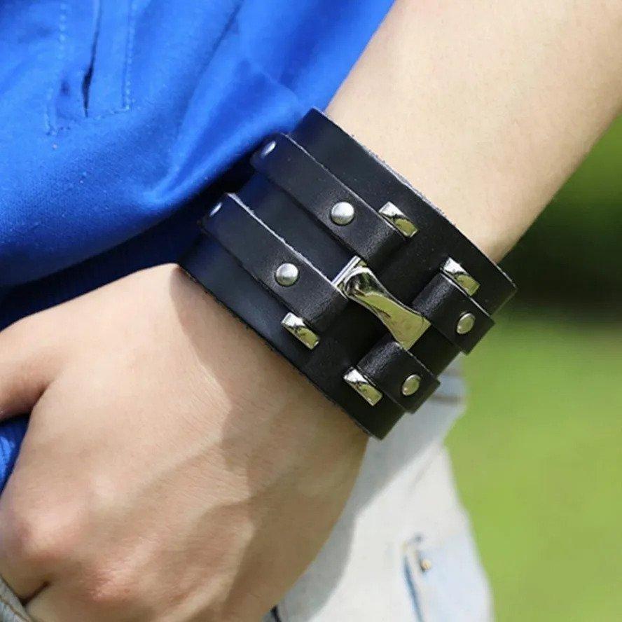 Pulseira Bracelete Masculino Couro Legítimo Jhonny Depp Luxo