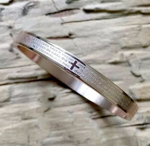 Pulseira Bracelete Oração Pai Nosso Aço Inox Com Garantia