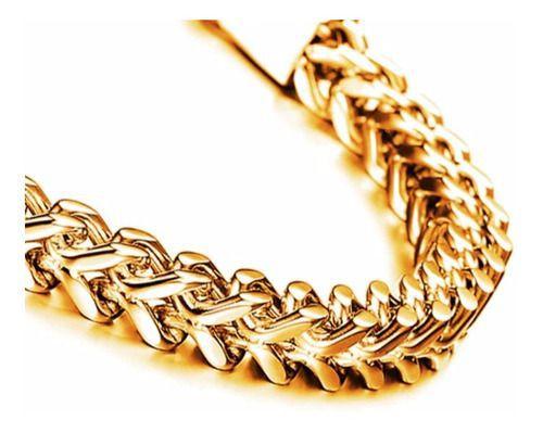 Pulseira Corrente Masculina Dourada Executiva Moda Grumet