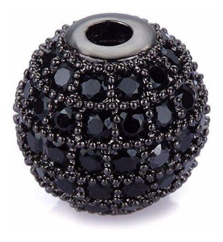 Pulseira De Pedra Ônix 8mm Com Zircônias Em Rodio Negro