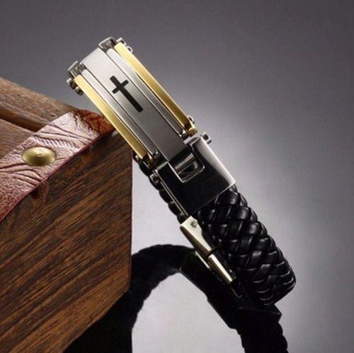 Pulseira Executiva Masculina Cruz Dourada Couro Luxo Ouro 18