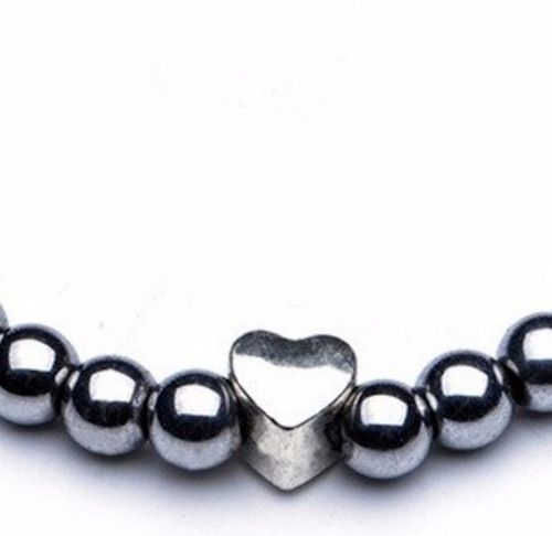 Pulseira Feminina Coração Pedras Hematitas 6mm Moda Bolinhas