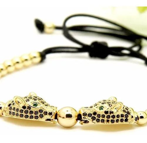Pulseira Luxo Arjandas Leopardos Dourado Zircônia Folheada