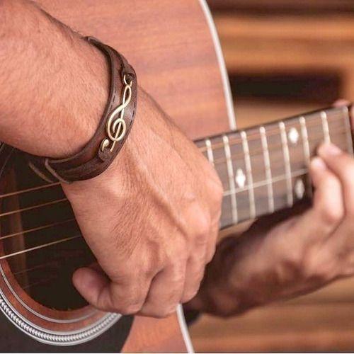 Pulseira Masculina Couro Legítimo Músicos Musical Clave Sol