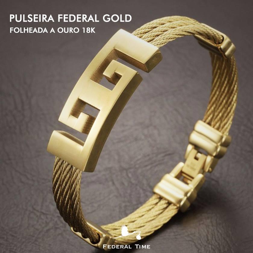 Pulseira Masculina Executiva Luxo Dourada Banhada Ouro 18 Kl