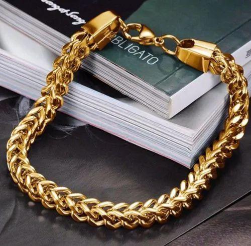 Pulseira Masculina Moda Corrente Grumet Dourada Banhada Ouro