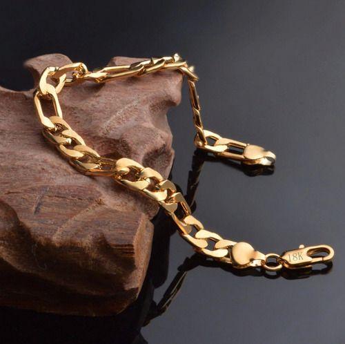 Pulseira Moda Masculina Folheada Ouro Grumet 5mm C/ Garantia