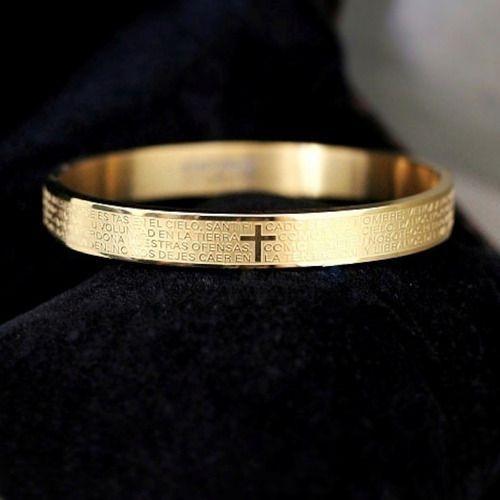 Pulseira Pai Nosso Dourada Folheada Ouro 18 Kl Alto Padrão