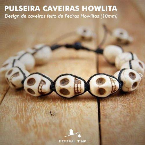 Pulseira Pedras Howlitas Caveiras Brancas Moda Bolinhas Luxo