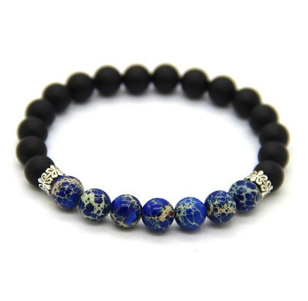 Pulseira Pedras Masculina 8mm Onix Jade Azul Moda Bolinhas