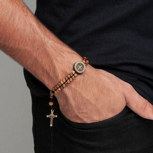 Pulseira Terço Terçinho Pulso Cruz De São Bento Madeira Luxo