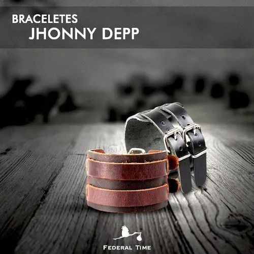 Pulseiras Bracelete Couro Legítimo Jhonny Depp Original
