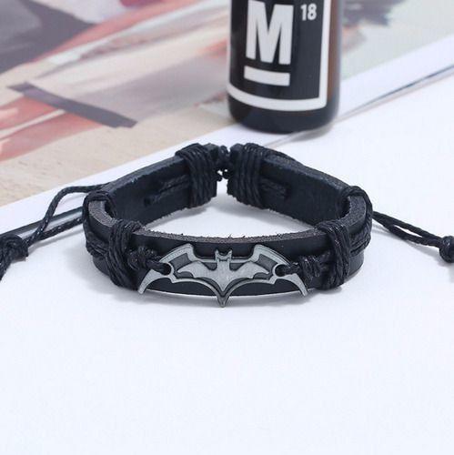 Pulseiras Couro Masculina Preta Batman Tamanho Ajustável