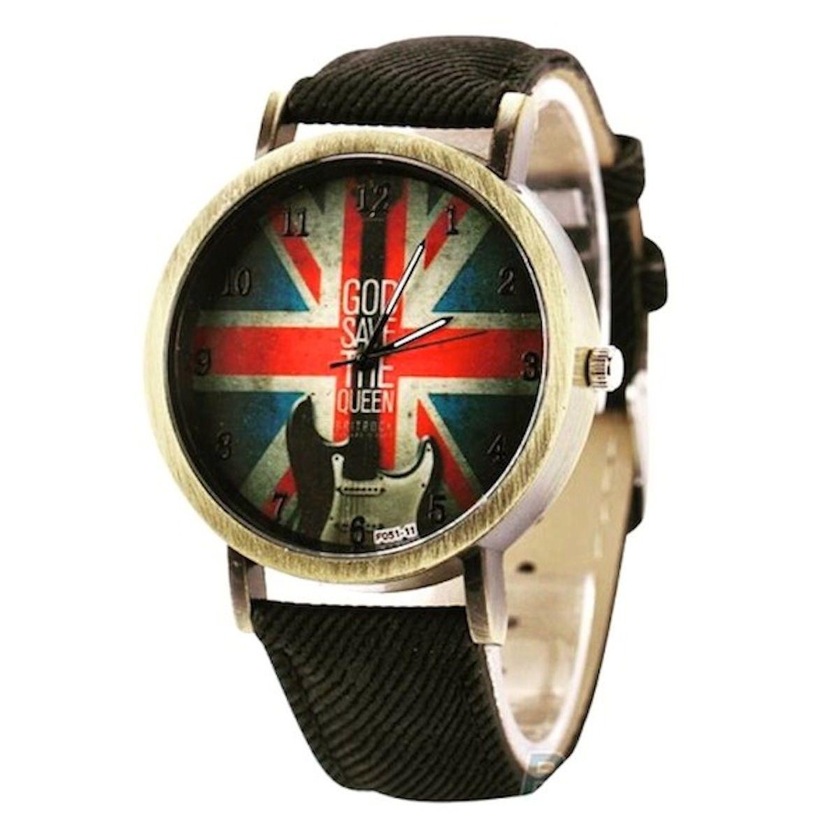 Relógio Bandeira Inglaterra Guitarra Promoção Pulseira Jeans