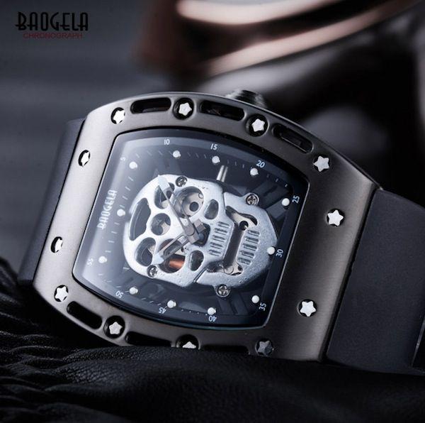 Relógio Baogela Original Caveira Prata Cranio Esqueleto