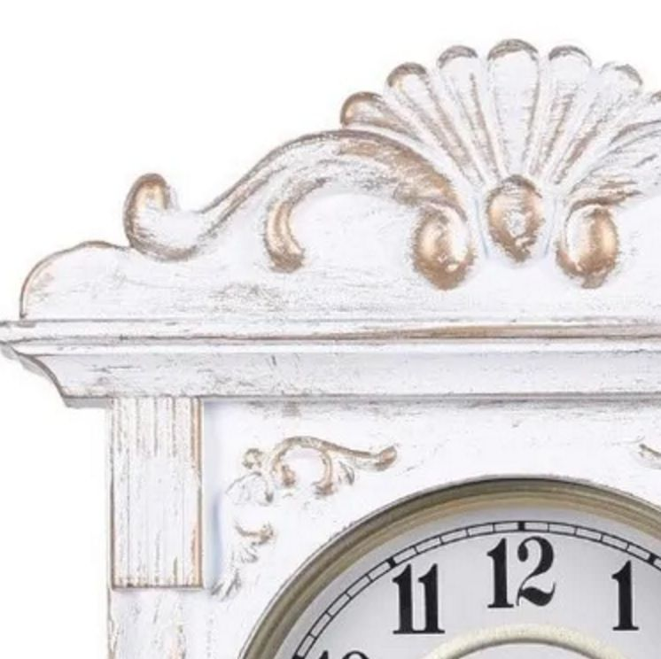 Relógio De Parede Vintage Branco Pérola Antiguidade Relíquia